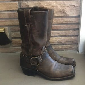 Frye Harness Boots 8 Brown Leather Square Toe